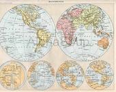 World Map Through History French 1898-1904 Antique Print Nouveau Larousse