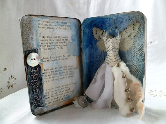 Assemblage Art vintage tin -  My Delight and Thy Delight .