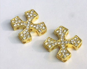 25mm Cross Gold Tone Rhinestone White Lot 10 pieces - 5299