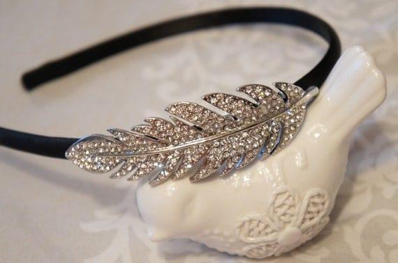 Crystal Feather Headband - Thin Black Satin Headband - Bridal Hair Accessories - Crystal Feather Head Band