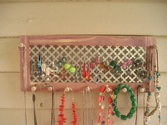 jewelry organizer jewelry holder jewelry storage cedar hanging jewelry holder earring organizer earring holder necklace holder