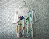 hand-painted aquatic scene 1980s fish soft t-shirt