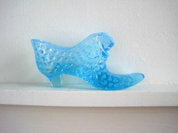 Vintage Hobnail Glass Slipper - Blue Opalescent