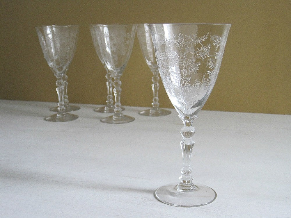 Vintage Etched Glass Water Goblets Fostoria By Goldendaysantiques