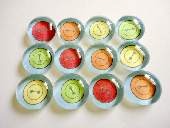 CLEARANCE - Glass Marble Push Pins or Magnets - Buttons