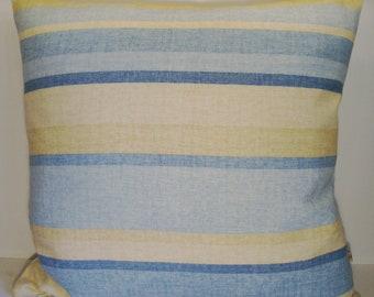 SALE - blue stripe pillow cover - stripe pillow cover- blue pillow cover- throw pillow cover- Laura Ashley pillow cover
