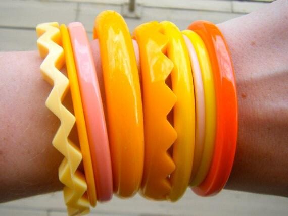 RESERVED Funky Boho Indie Hipster 1980s Mango Sherbert bangle bracelets