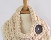 Made to Order - Chunky Knit Winter White Cowl Scarf with Large Dark Gray Button