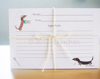 Dachshunds Chefs Recipe Cards (set of 20)