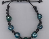 Black & Teal Shamballa Style Leather Bracelet