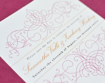 Wedding Save the Date Card : Citrus Vintage Bohemian with pink and orange