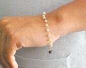 Freshwater Pearl Gold Bracelet Black crystal  Handmade