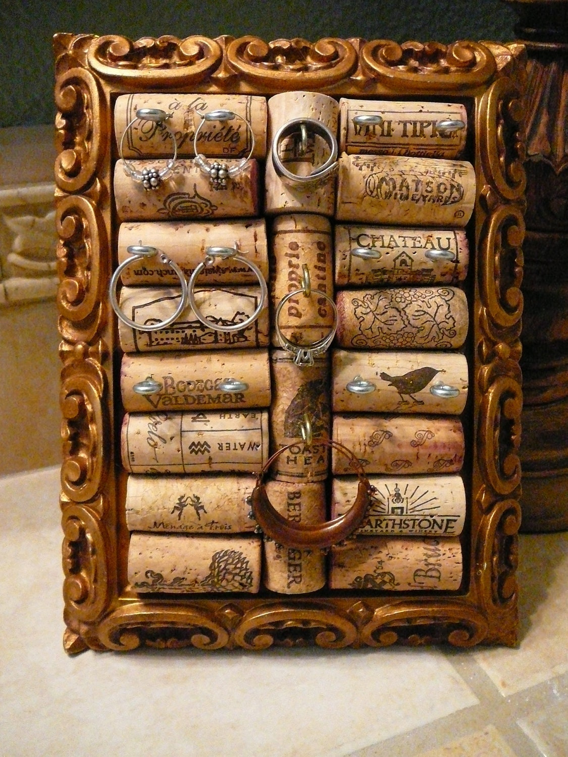 jewelry holder vintage frame ooak wine cork by happiness2day