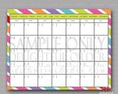 Colorful - Calendar -  PDF Printable File - Instant Digital Download