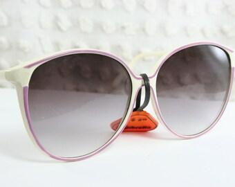 80s Sunglasses 1980s Round Vintage Oversize White Purple Detail Frame Gray Lens Non Rx NOS Sunbrella