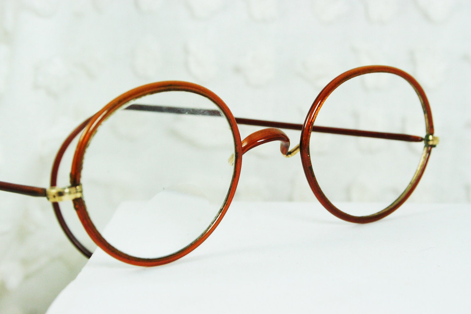 Glasses Frames With Cable Temples : 30s Eyeglasses 1930s Round Glasses Butterscotch by DIAeyewear
