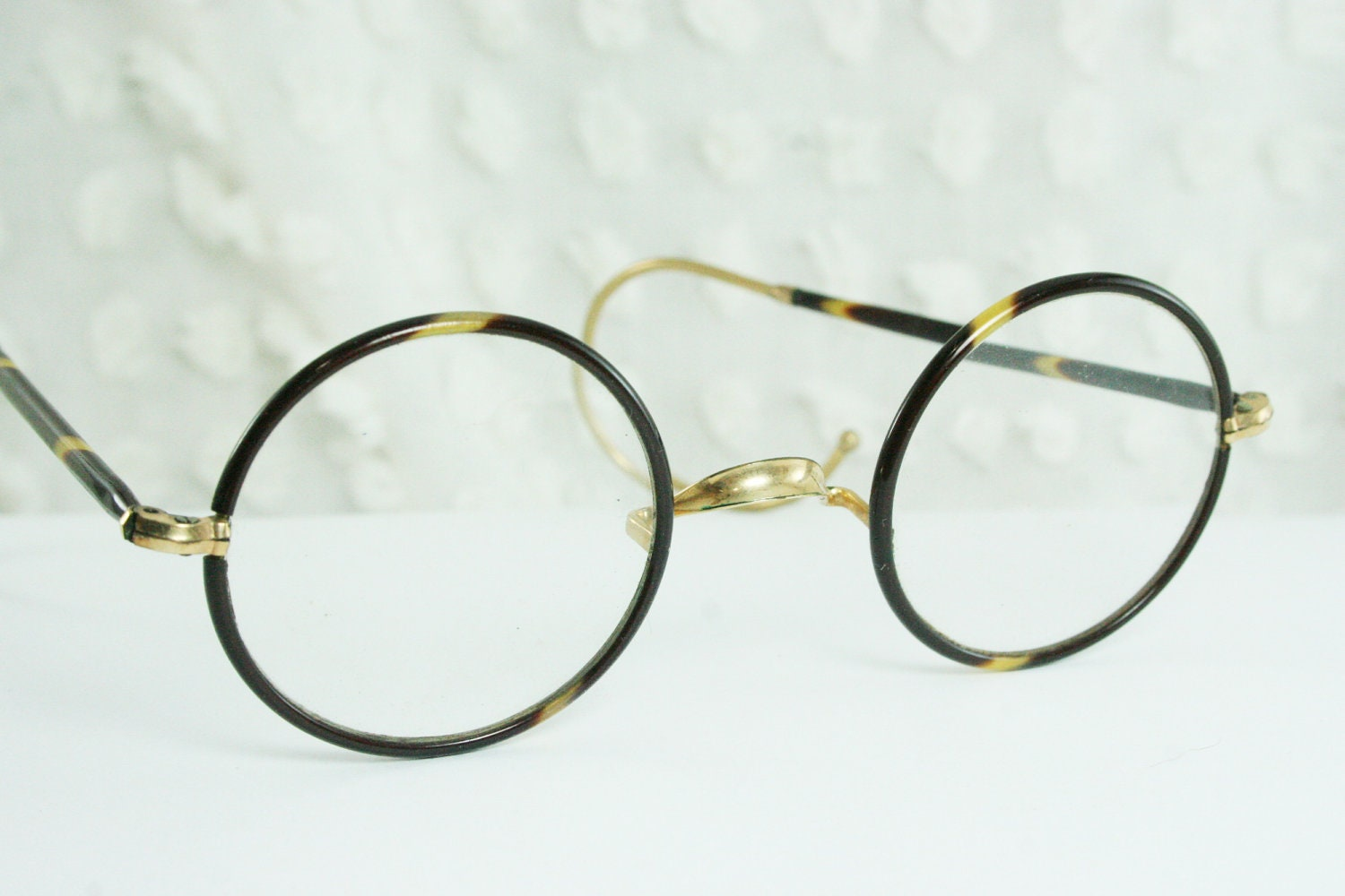 30s Glasses 1920's Eyeglasses Round Tortoise Circle by