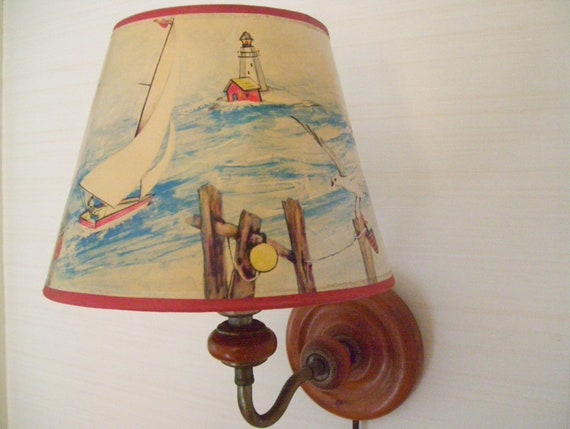 Vintage Wooden Wall Lamp With Original Shade