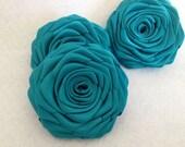 3 handmade roses ribbon flowers in teal (dark turquoise)