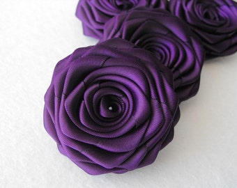 4 handmade roses ribbon flowers in eggplant (dark purple, royal purple)