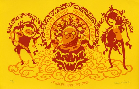 Meditation Time an Adventure Time screen print