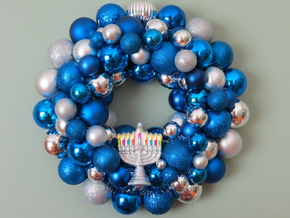 Reserved--HANUKKAH Ornament Wreath  blue and silver with NO Special ornament