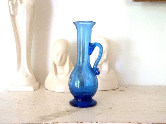 Blue Glass Vase Antique Crackle Glass Bud Vase
