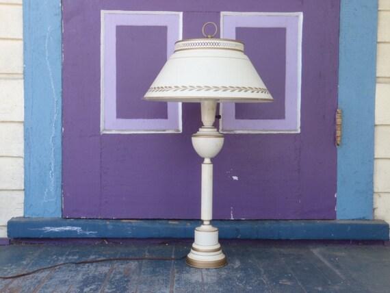 1960s Vintage Table Lamp Toleware Lamp Metal Lamp Milk Glass Shade