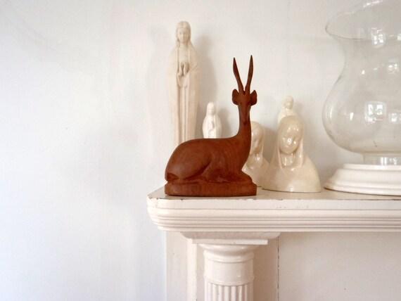Wooden Deer Vintage Sculpture Gazelle