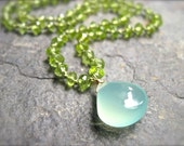 Peridot Necklace with Aqua Chalcedony, Silk Cord Handmade Necklace, August Birthstone Necklace