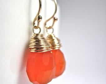 Carnelian Earrings Wire Wrapped in 14K Gold Fill, Handmade Orange Gemstone Earrings