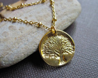Tree of Life Necklace with Satellite Chain in 14K Gold Fill, Handmade Gold Tree of Life Necklace