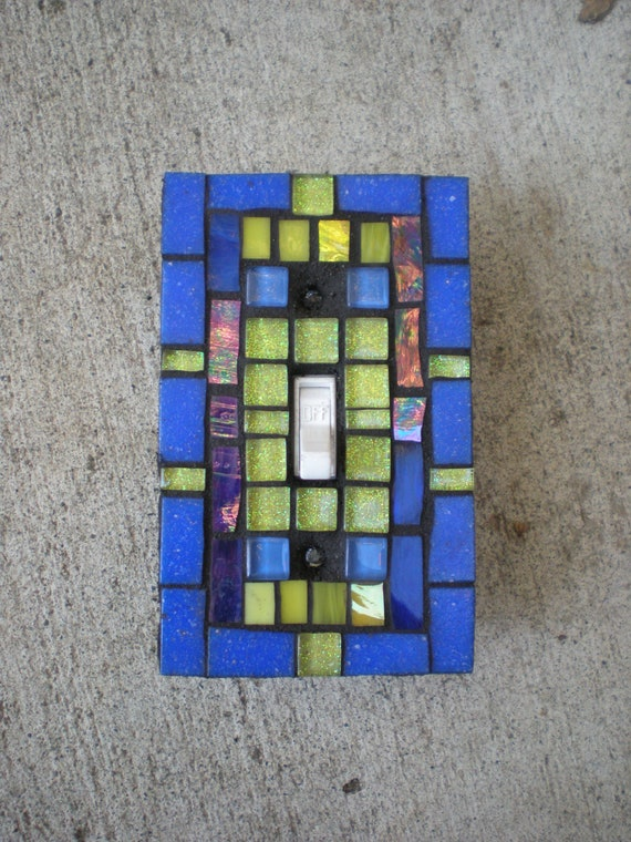 Mosaic Light Switch Cover - Cobalt Blue and Yellow Stained Glass -Switch Plate