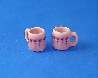 2 Rose Pink Mugs for Dollhouse 1/12 Scale