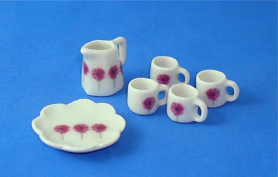 Daisy Print Ceramic Dollhouse 12th Scale Kitchen Wares