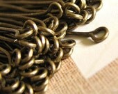 100 Eye Pins Antique Bronze / Brass Ox - 50mm x .7mm - 2 inches (21 gauge) -- Lead, Nickel, & Cadmium free Jewelry Finding 50/.7-L17
