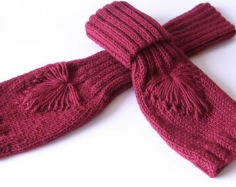 Red fingerless gloves,knit wrist warmers,knit arm warmers,knit hand warmers,gauntlets,winter trends, christmas gift