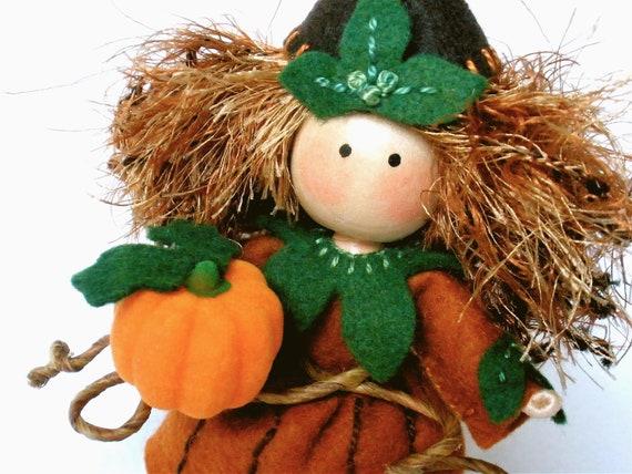 Clothespin Pumpkin Art Doll Pegtales Fall Harvest Halloween