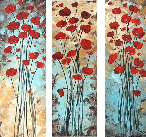 """36"""" xxl original red  poppis Impasto super thick textured abstract  painting  from Jolina,,fantastic style,unique oil painting"""