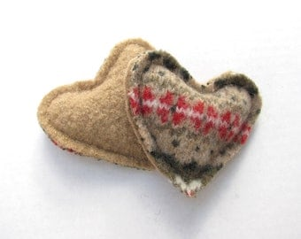 Pocket Hand Warmers Fair Isle Felted Wool Hearts Red Green and Khaki Recycled Wool Rice Handwarmers