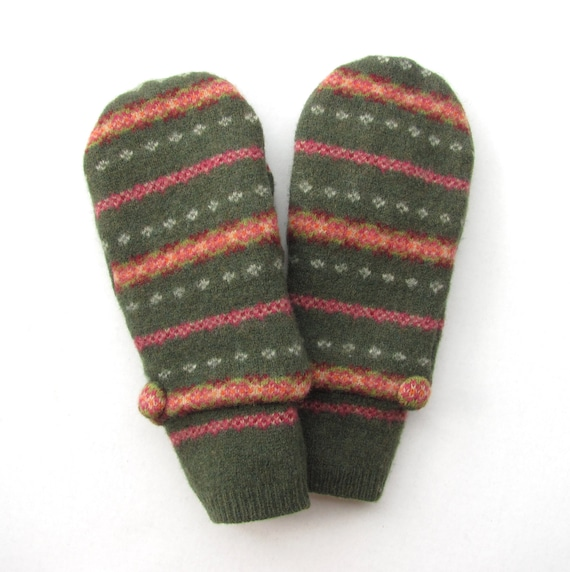 Wool Mittens From Recycled Sweaters Fleece Lined Olive Green and Pink Fair Isle