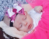 Minnie mouse hair bow...infant head band...baby bow /hairbows for little girls or toddlers