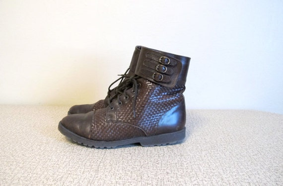 Woven Leather Vintage Booties - Classic Look - On-Trend Retro Fall Boots - Womens Sz 7 1/2B