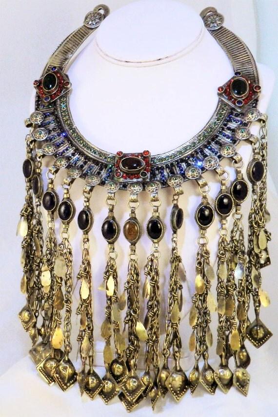 Vintage Tribal Kuchi Necklace - Swarovski Crystallized Collar OOAK - JF3035