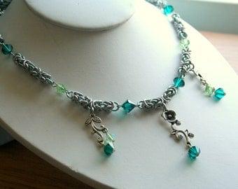 Byzantine Swarovski Crystal Flower Necklace