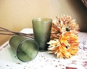 vintage melamine glass cup tumbler green textured Boonton modern set of two