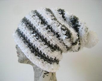 Striped crochet long hat in grey, white