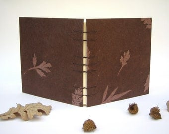 Rustic Wedding Guest Book - Hand Bound Blank Guest Book with Coptic Stitch Binding, Ribbon, Woodland, Made to Order