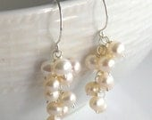 Pearl Cluster Earrings in White and Sterling Silver, Clip-on available handmade, bridal, wedding, classic