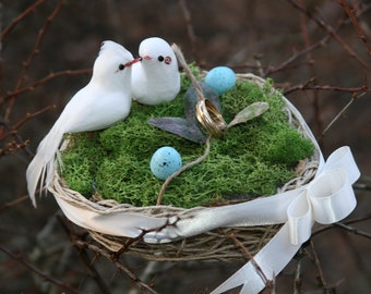 Handmade bird nest ring bearer pillow with two lovebird and blue eggs.